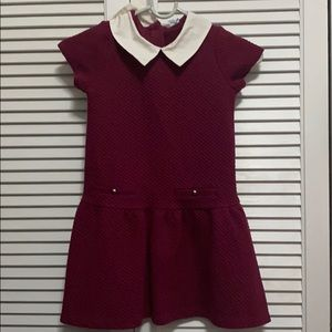 Wine colored dress with white collar
